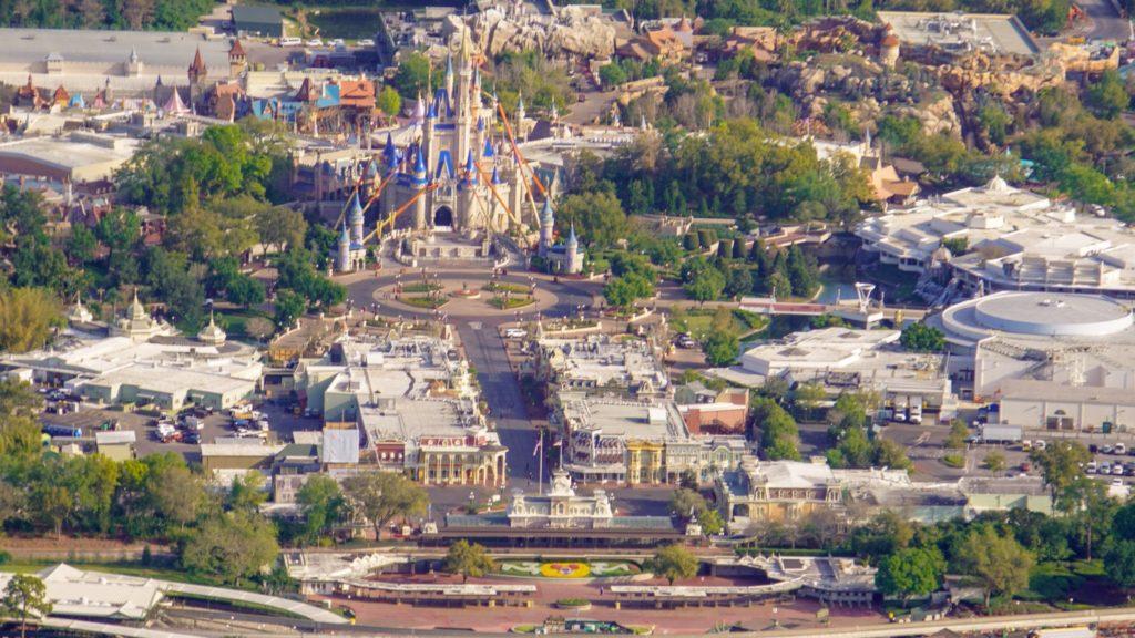 Amazing Aerial Shots Show Disneyworld Is Eerily Empty In Orlando, Florida.